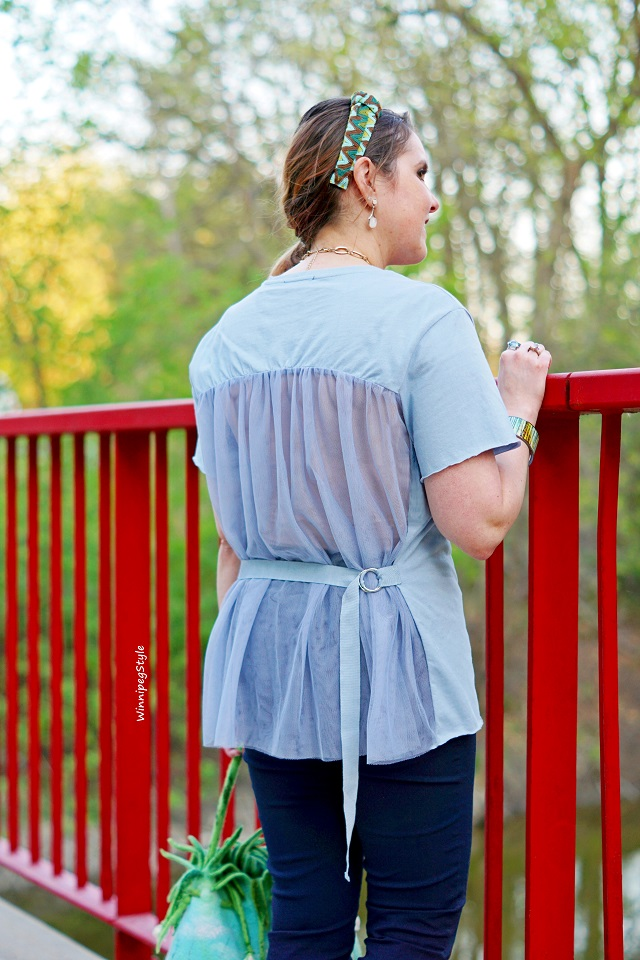 Winnipeg Style, Canadian Fashion blog, stylist, C'est Moi t shirt with mesh back, dusty blue, statement top, perfect dressy casual look, pastels, women's fashion, Canadian Company fashion , Spring Summer 2018