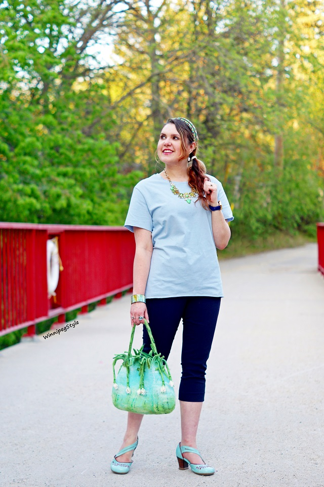 Winnipeg Style, Canadian Fashion blog, stylist, C'est Moi t shirt with mesh back, dusty blue, statement top, perfect dressy casual look, pastels, women's fashion, Canadian Company fashion, Fluevog Operetta Viardot LE baby blue, Spring Summer 2018