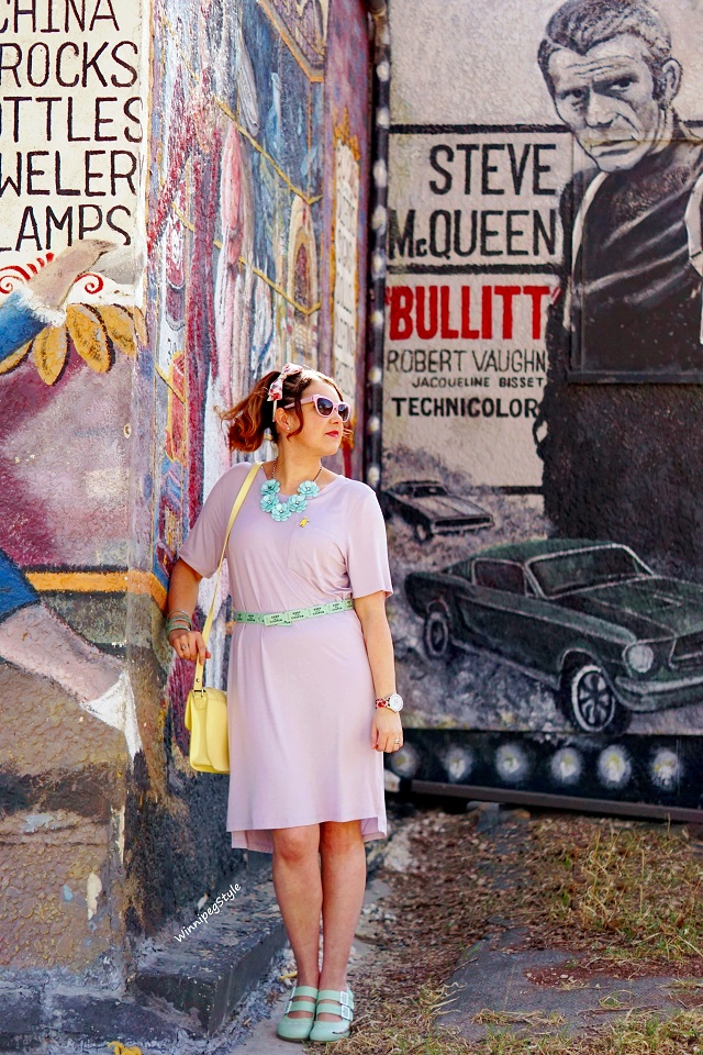 Winnipeg Style, Canadian Fashion blog, stylist, C'est Moi bamboo t shirt dress, lilac knit, pocket, perfect dressy casual look, pastels, women's fashion, Canadian Company fashion, Kate Spade leather ticket belt, Fluevog Operetta Fiorenza mint