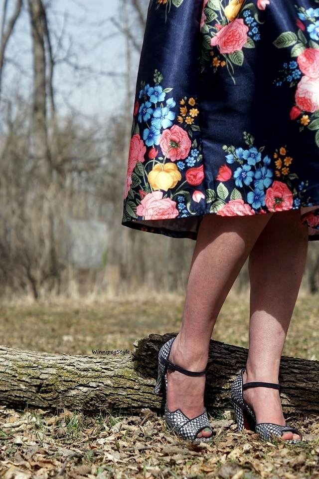 Winnipeg Style, Canadian Fashion blog, stylist, Chicwish floral print bouquet midi length 50's dress, vintage style, Chie Mihara navy Fan patent leather suede peep toe sandals, Spring fashion trends 2018