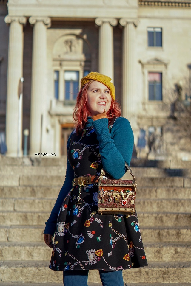 Winnipeg Style fashion blog, Canadian stylist, Mary Frances Accessories X Marks the Spot treasure chest novelty handbag bag beaded jewels, jewelry box, ocean sunken treasure, H&M jewelry gems print dress, Manitoba Winnipeg Legislative building, Golden boy, Modern vintage 2018 winter