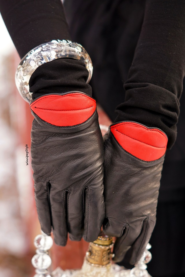 Winnipeg Style Fashion stylist, canadian blogger, Aldo leather red lip winter gloves, Swarovski clear resin bangle bracelet iconic swans, Modern vintage style, winter 2018 2019