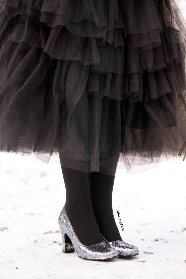 Winnipeg Style Fashion stylist, canadian blogger, Chicwish black long layered tulle party dream skirt, John Fluevog glitter sparkle Miracles Medugorje pumps shoes, Modern vintage style, winter 2018 2019