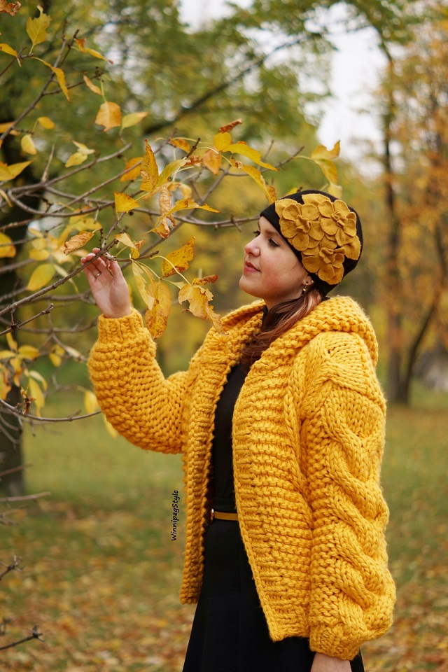 Winnipeg Style fashion blog, Canadian stylist, personal shopper, Chicwish mustard hand knit hooded cardigan, Complit wool flower beanie cap hat