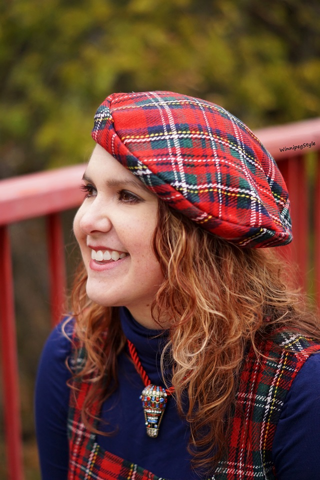 Winnipeg Style Fashion stylist, Canadian style blogger, April Cornell winter red plaid shift jumper dress, April Cornell wool red plaid beret hat, Heidi Daus hot air balloon necklace