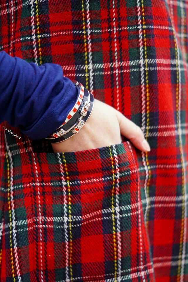 Winnipeg Style Fashion stylist, Canadian style blogger, April Cornell winter red plaid shift jumper dress, Kate Spade Fast Lane race car bangle bracelet