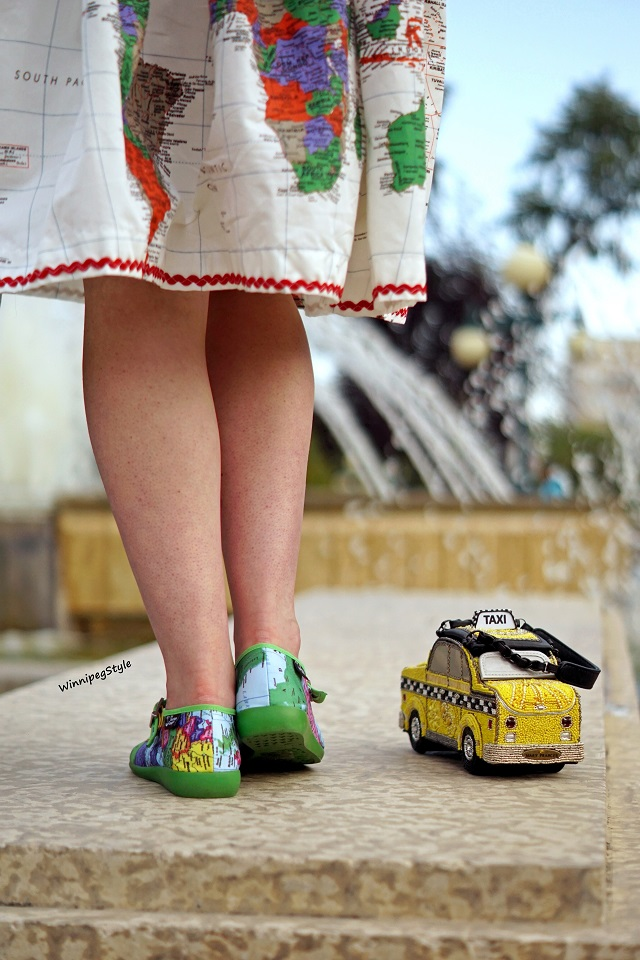 Winnipeg Style, Canadian Fashion blog, stylist, Hot Chocolate Design Chocolaticas Bon Voyage flat fabric shoes, world map print, Mary Frances accessories Taxi purse, New York yellow cab bag, Rooby skirts world map print cotton retro 50's style skirt, fall 2018 vintage style, novelty fun
