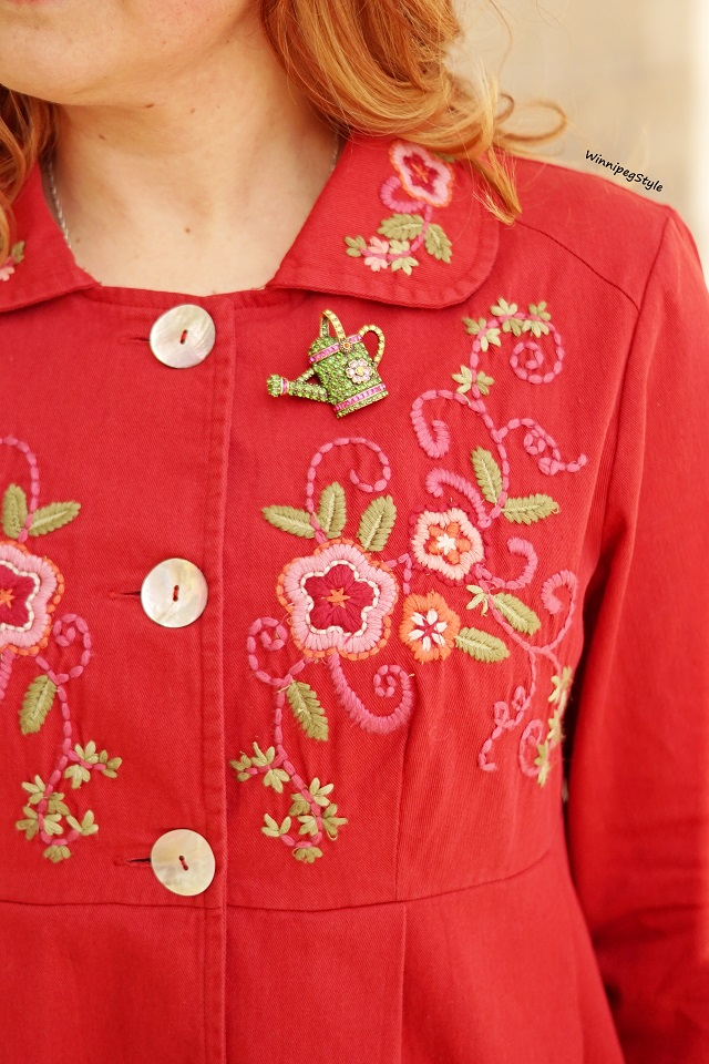Winnipeg Style fashion Canadian blog, vintage style, spring 2019, April Cornell Favorite jacket red embroidered flowers, Heidi Daus swarovski crystal watering can brooch pin