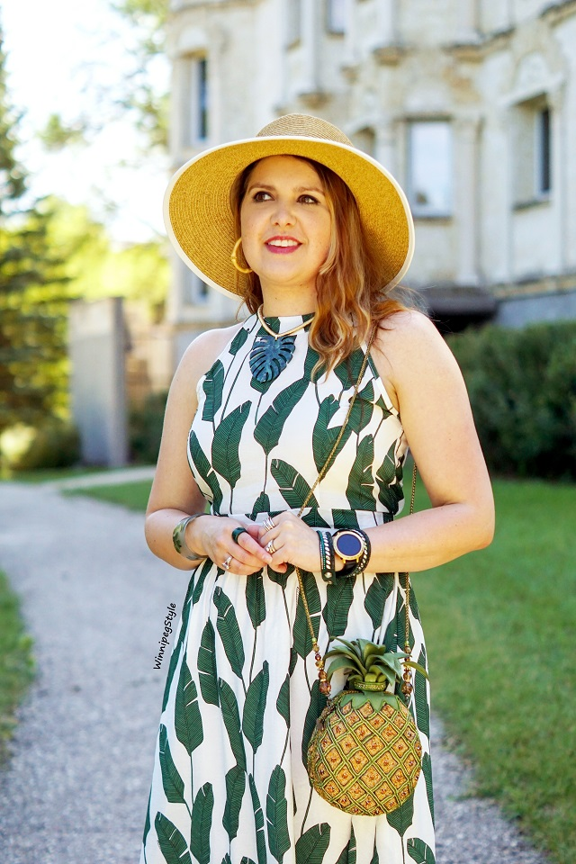 Winnipeg Style, Canadian fashion stylist, fashion blog, Chicwish palm leaf print halter maxi dress, Mary Frances beaded pineapple punch bag clutch, Sun N Sand headwear straw bow hat, Amrita Singh green leaf resin statement necklace, Kate Spade smartwatch, Swarovski Slake wrap bracelet, unique quirky blog, retro vintage classic style