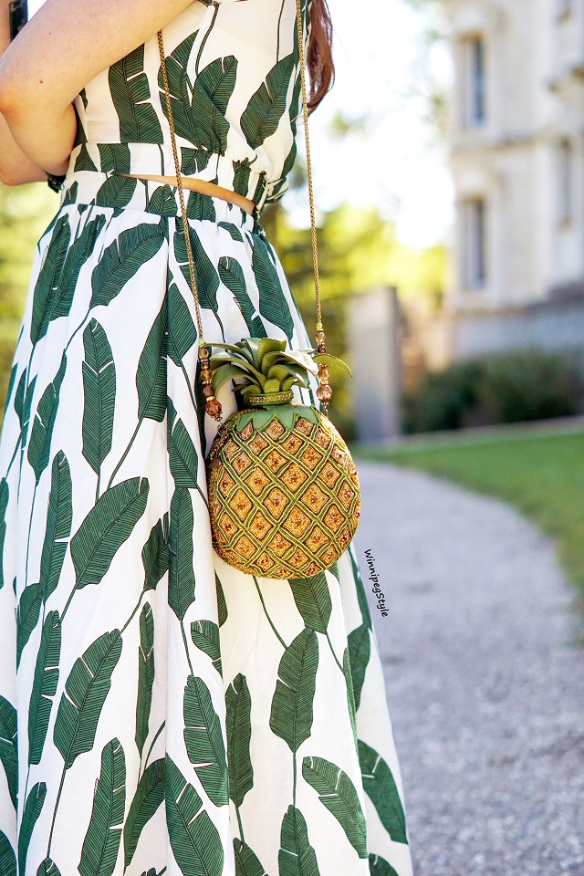 Winnipeg Style, Canadian fashion stylist, fashion blog, Chicwish palm leaf print halter maxi dress, Mary Frances beaded pineapple punch bag clutch, unique quirky blog, retro vintage classic style