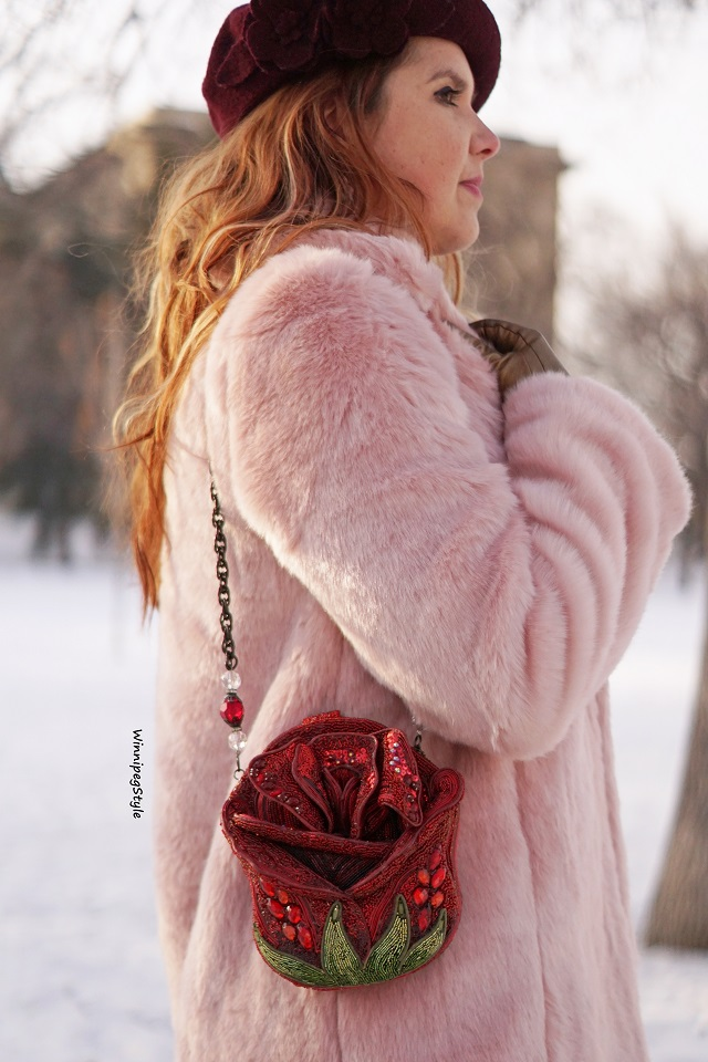 Winnipeg Style, Canadian fashion blog, vintage classic style women's fashion, Chicwish wine and pink heart print pleated skirt, Chicwish pastel pink faux fur cozy coat, Mary Frances princess disney style red rose bag purse,