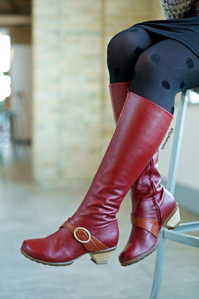 Winnipeg Style, Canadian fashion stylist blog, John Fluevog red Hope Desire knee high boots, Winnipeg Forks Market, modern vintage style