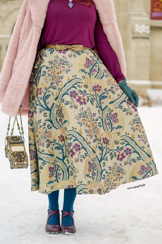 Winnipeg Style, fashion styist, Canadian fashion blog, Chicwish vintage boutique embroidered midi skirt, Mary Frances novelty car bag purse, Chicwish pink marshmallow faux fur coat, Reitmans purple essentials top, Nygard wool bell hat, John Fluevog Malibran mary jane shoes