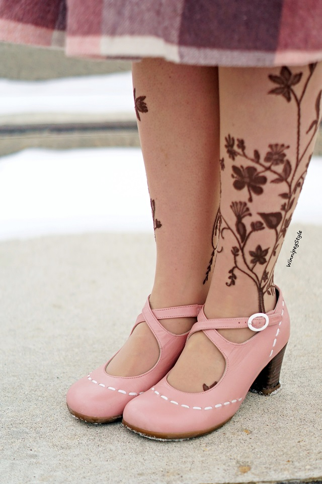 Winnipeg Style Canadian fashion blog, John Fluevog Malibran Operetta baby pink shoes mary jane shoes, tattoo tights Winners