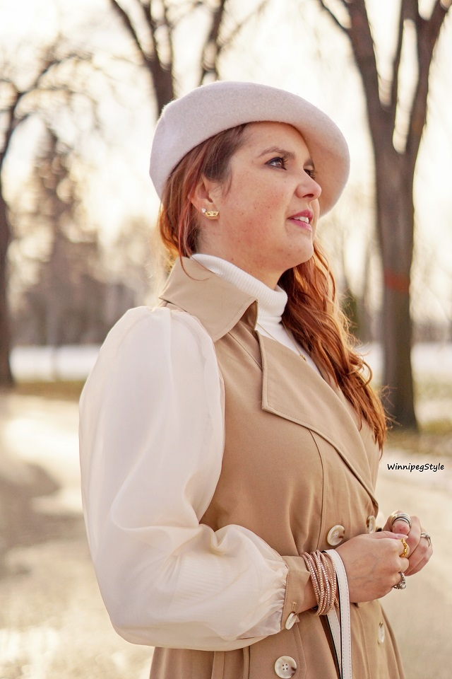 Winnipeg Style, Canadian women's fashion blog, stylist, Chicwish double breasted chiffon sleeve khaki trench dress coat, vintage style, Canadian winter style, Parisian style, cream wool beret