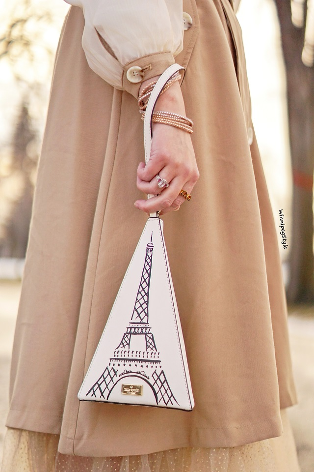 Winnipeg Style, Canadian women's fashion blog, stylist, Chicwish double breasted chiffon sleeve khaki trench dress coat, Kate Spade eiffel tower handbag, vintage style, Canadian winter style, Parisian style. Swarovski crystal wrap bracelet