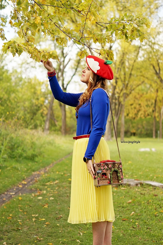 Winnipeg Style, Canadian women's fashion blog, stylist, Mary Frances Disney Collection Collaboration Charmed Cottage house, Snow White and the Seven dwarfs handbag, handmade, Disney Bound, costume idea, Disney Style, Disney Princess, apples, red bow, hobbit, , Handmade apple beret Etsy, Forever 21 yellow skirt, Blue Cupio top