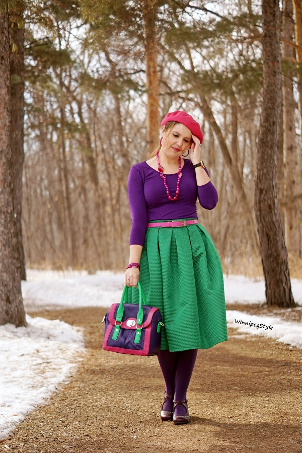 Winnipeg Style, Canadian fashion blog, classic vintage style, Chicwish bright kelly green midi skirt, C'est Moi bamboo purple top, Bodhi leather handbag color blocked purple pink green, Fluevog purple Malibrans mary jane classic shoes, spring 2020 style