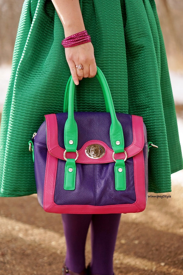 Winnipeg Style, Canadian fashion blog, classic vintage style, Chicwish bright kelly green midi skirt, Bodhi leather handbag color blocked purple pink green, Fluevog purple Malibrans mary jane classic shoes, spring 2020 style