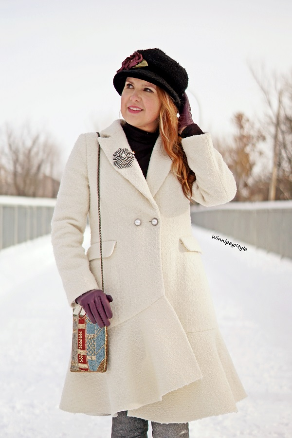 Winnipeg Style, Canadian fashion blog, vintage classic style, Chicwish Asymmetrical frill tweed winter white coat, Mary Frances book beaded handbag, Toucan collection wool bucket hat, winter style, Canadian winter style