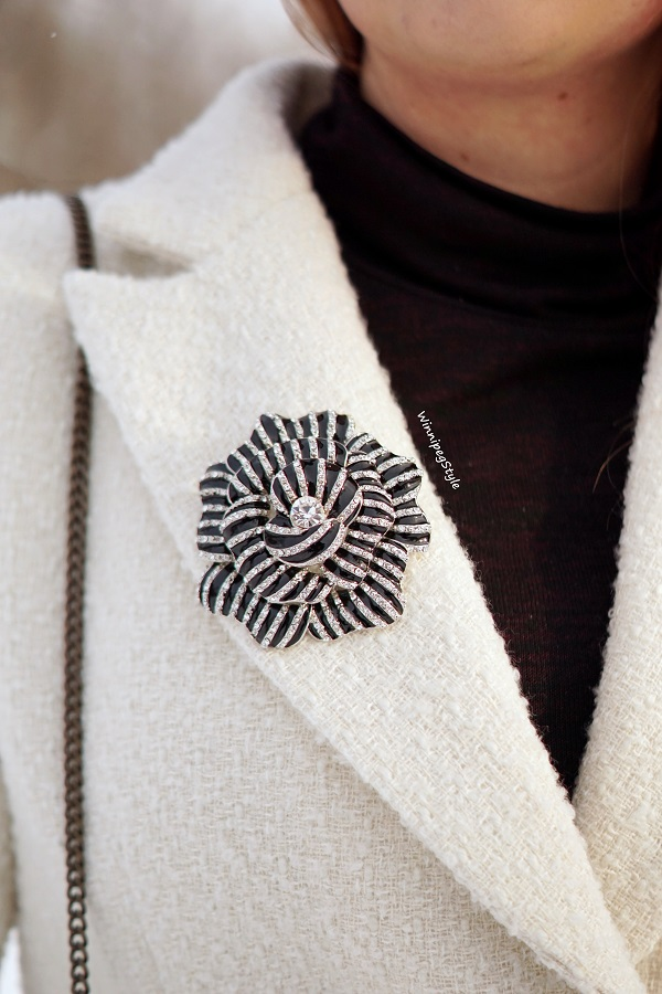 Winnipeg Style, Canadian fashion blog, vintage classic style, Chicwish Asymmetrical frill tweed winter white coat, Black enamel crystal flower bold statement brooch pin, winter style, Canadian winter style