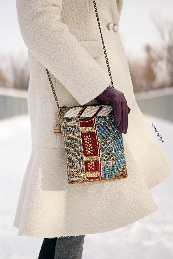 Winnipeg Style, Canadian fashion blog, vintage classic style, Chicwish Asymmetrical frill tweed winter white coat, Mary Frances book beaded handbag, winter style, Canadian winter style