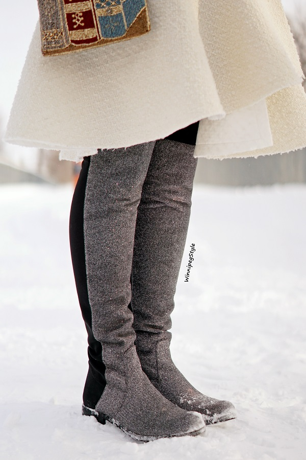 Winnipeg Style, Canadian fashion blog, vintage classic style, Unisa over the knee metallic silver sparkle boots, winter style, Canadian winter style