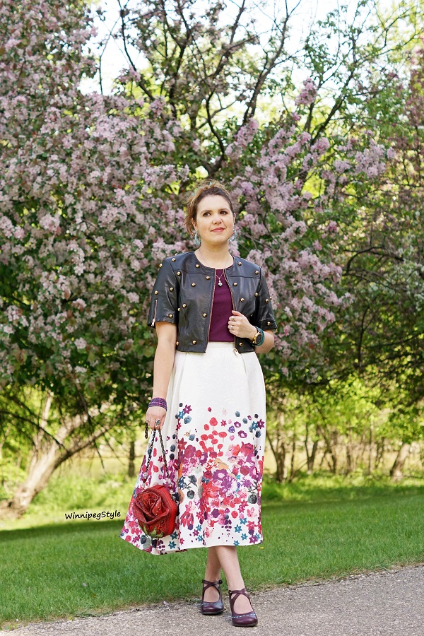Winnipeg Style, Canadian women's fashion blog, trendy, modern vintage, Chicwish floral embossed midi skirt, Lamarque Indira black leather studded cropped jacket, Mary Frances 3d red rose beaded novelty handbag purse, classic, cherry blossoms, Fluevog Malibran