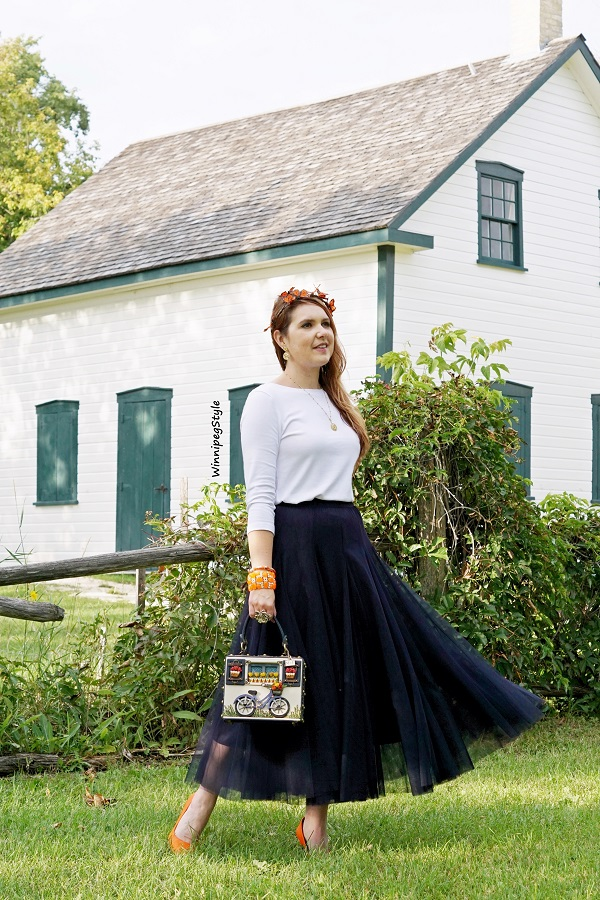 Winnipeg Style, Canadian women's fashion blog, Chicwish navy tulle maxi skirt, Jones and Co. Jones New York white top, Mary Frances Bicycle 3D embellished bag, John Fluevog orange heels, Neesie Designs monarch butterfly crown, Louise Riel house