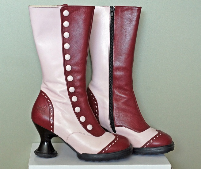 Winnipeg Fashion Blog, Canadian Fashion Blog, Fluevog burgundy red pink victorian limited edition special edition Mini Babycake boot