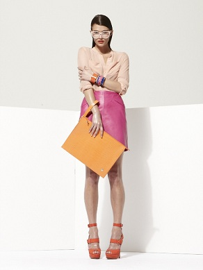 Object by George Antonopoulos for Danier Leather skirt, leather clutch