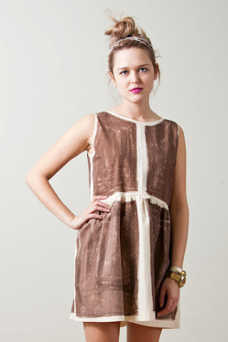 Tony Chestnut Spring Summer 2012 collection, organic unbleached chestnut brown cotton dress, hand painted