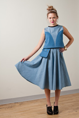 Tony Chestnut Spring Summer 2012 collection, midi chambray denim circle skirt, denim chambray sleeveless crop top