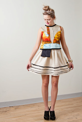 Tony Chestnut Spring Summer 2012 collection, organic cotton hand painted striped tutu skirt with canvas pocket