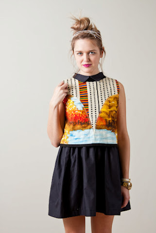 Tony Chestnut Spring Summer 2012 collection, gauzy african vintage landscape print fabric sleeveless crop top