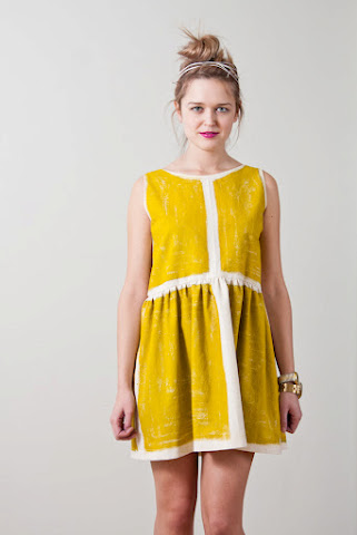 Tony Chestnut Spring Summer 2012 collection, organic unbleached cotton chartreuse dress, hand painted