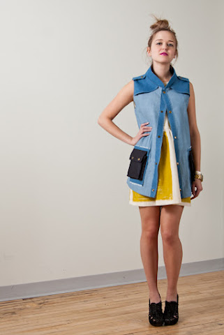 Tony Chestnut Spring Summer 2012 collection, chambray demin pocket vest jacket