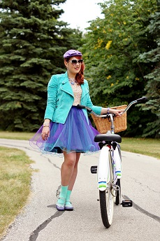 Everyday Outfit Everyday Outfit for September 10, 2013, Danier suede aqua blue bike jacket, Topshop premium sequin crop top, Jolie Sears DIY tulle purple blue skirt, Hue aqua blue ankle socks, Betsey Johnson Heavens to Betsey blue lucite heart necklace, Vintage wool purple hat, Montego Bay blue purple white 50`s style vintage bike with basket, Fluevog Fellowship blue purple Kathy flat leather saddle shoes, Summer 2013