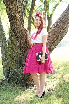 Everyday Outfit for August 22, 2014, Kate Spade Darcel printed donut tshirt, Forever 21 hot pink fuschia lace full circle skirt, Danier leather yellow belt, BCBG Max Azria gold dangle chain ear cuff, Kate Spade New York Darcel donut bangle bracelet watch, Jacques Vert pink black cream silk feather fascinator, Aldo Accessories love story book clutch bag, Melissa Karl Lagerfeld ice cream cone plastic shoes